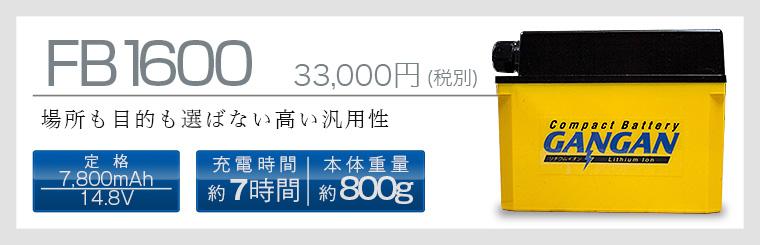 コンパクトリチウムイオン電池の先駆け「GANGAN FB1600」